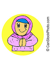 Doodle Muslimah religious girl at yellow circle