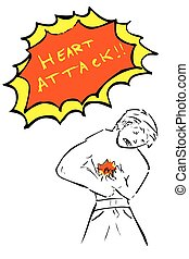 doodle Man - Heart Attack - hand draw sketch Man - Heart...