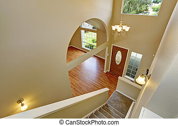 Panoramic view of entrance hallway from staircase -...