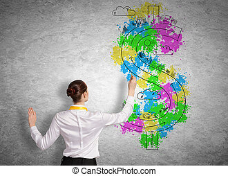 Business vision - Back view of businesswoman drawing dollar...