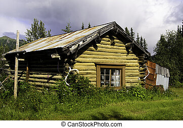 Rustic log cabin - A view of a rustic log cabin in Wiseman...