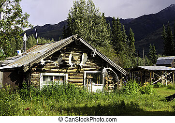 Wiseman village cabin - A view of a rustic log cabin in...