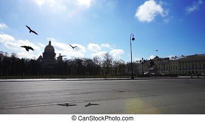 Cars moving near Senate Square, Saint Petersburg - Evening...