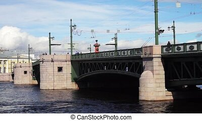 Palace Bridge across Neva river, St. Petersburg - Cars...