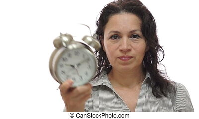 Mad Woman Manager With Time Clock - Shot of an angry woman...