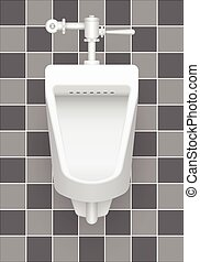 Urinal - Illustration of urinal on ceramic tile background