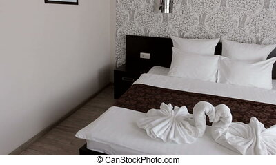 beautiful hotel room with a double bed