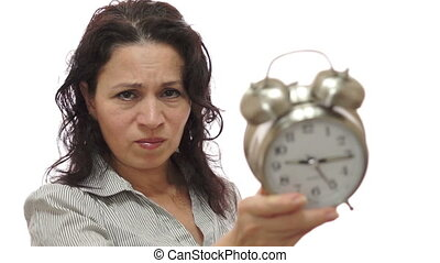 Mad Female Lover With Clock - Shot of an angry woman holding...
