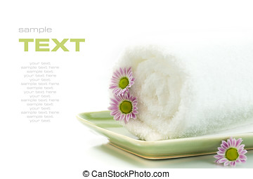 Towel with flowers on white background