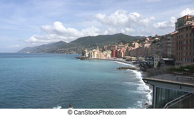 View of Camogli, small town on the Italian Riviera, with...