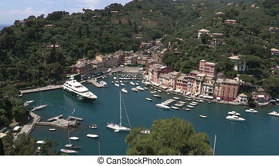 Panoramic view of Portofino, one of the most famous...