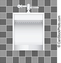 Urinal - Illustration of urinal on ceramic tile background.
