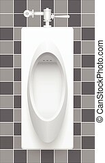 Urinal - Illustration of urinal on ceramics tile background.