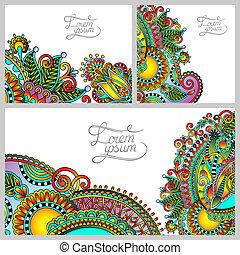 set of floral decorative background, template frame design...