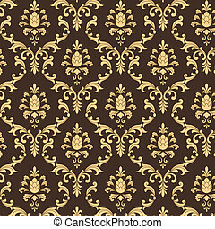 Brown and Gold Damask Pattern - Vector Seamless Pattern...