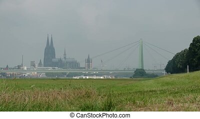 Cologne, Germany, Panoramic view in Summer - video footage...