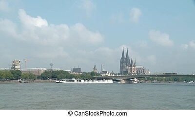 Panoramic view in the city of cologne in germany - video...