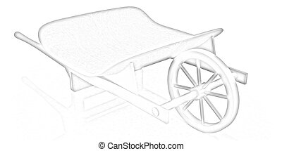 wooden wheelbarrow on a white background