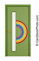 Playroom door with rainbow isolated on white