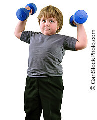 isolated portrait of elementary age boy with dumbbells...