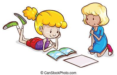 Little girls studying - Illustration of the little girls...