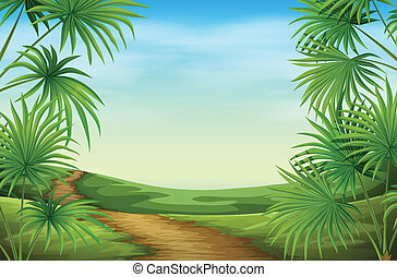 A beautiful landscape with palm plants - Illustration of a...