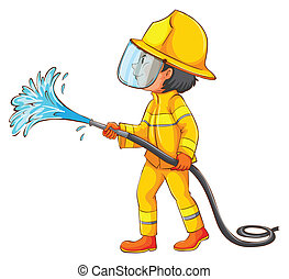A simple drawing of a firefighter - Illustration of a simple...