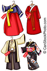 Simple sketches of the Asian costumes on sale - Illustration...