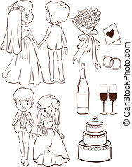 A plain sketch of a wedding ceremony - Illustration of a...