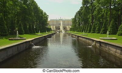Alley of fountains Peterhof Fountains Petrodvorets 4K Shot...