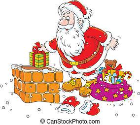 Santa on a housetop - Santa Claus putting his holiday gifts...