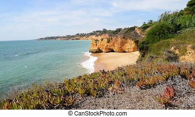Maria Luisa beach in Albufeira, Portugal. This beach is a...