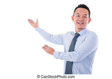 Businessman hands showing something