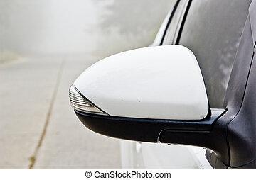 Side mirrors, auto-white