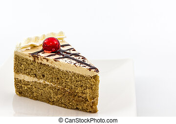 Coffee cake slice. - Coffee cake slice on white background.