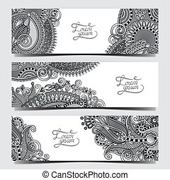 Set of three grey horizontal banners with decorative...
