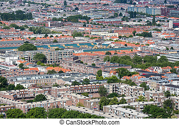 Aerial cityscape residential area of The Hague, The...