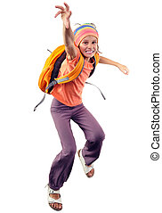 happy schoolgirl or traveler exercising, running and jumping