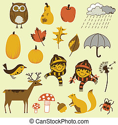 Autumn Elements Set - A collection of 20 hand-drawn Autumn...