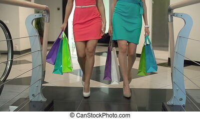 Spend It All - Low section of two shoppers strolling along...