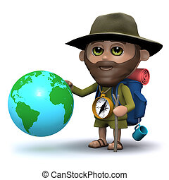 3d Hiker with a globe of the Earth