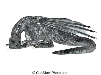Resting Dragon - 3D digital render of a silver fantasy...