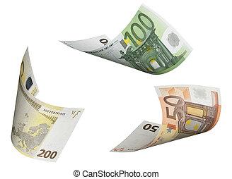 collage, bianco, conto, isolato,  euro