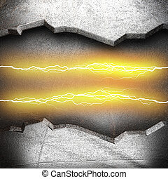 metal background with electric lightning
