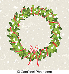 Mistletoe wreath - Decorative christmas mistletoe wreath on...