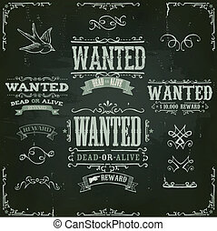 Wanted Vintage Western Banners On Chalkboard - Illustration...
