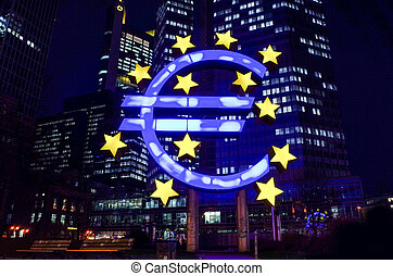 Euro Sign. European Central Bank (ECB) - Frankfurt,...