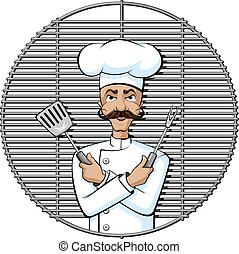 Gourmet Grill Chef - illustration of a serious gourmet grill...