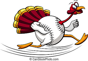 Thanksgiving Baseball - illustration of a turkey running...