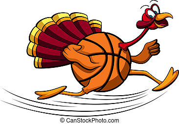 Thanksgiving Turkey Basketball - illustration of a turkey...